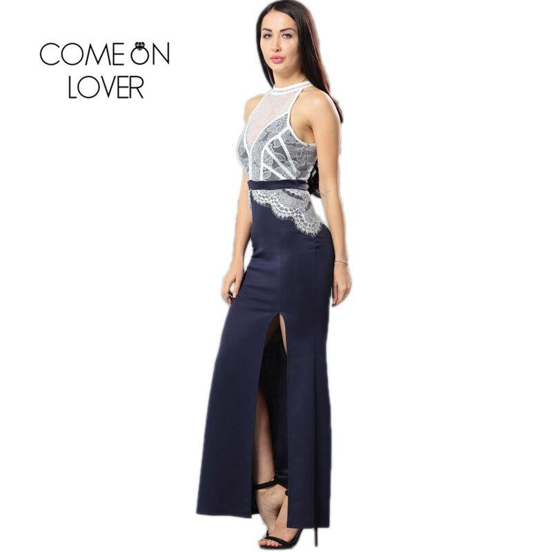 Buy Cheap VI1028 Comeonlover Contrast Lace Party Split Dress High Quality Ukraine Woman Dress Summer Halter Patchwork Vestido De Festa