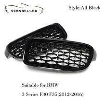 A Pair Front Kidney Grille For BMW New 3 Series F30 F31 F35 2012-2016 Diamond Grille Meteor Style Front Car Grill Car Styling 1 pair f30 car styling front grill style f31 kidney black replacement grille hood for bmw 3 series f30 f31 2012 2016 gloss black
