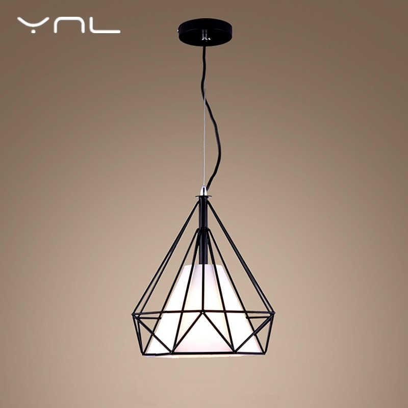 Современный простой светодиодный подвесной светильник s Алмазная форма черный железный Ретро светильник Лофт Пирамида лампа металлическая клетка светодиодный светильник лампа Эдисона