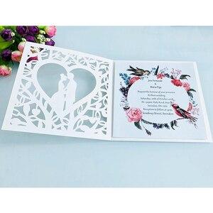 Image 3 - 50 stücke Blau Weiß Gold Rot Hohl Herz Laser Cut Ehe Hochzeit Einladungen Karte Gruß Karte Drucken Postkarte Partei Liefert