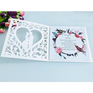 Image 3 - Cartão de visita de casamento 50 peças, azul branco vermelho oco coração corte a laser convites de casamento impressão cartão postal suprimentos da festa