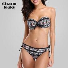 Charmleaks Women Bikini Set Vintage Floral Print Swimwear Swimsuit Bandage Sexy Push Up Bathing Suit Beachwear