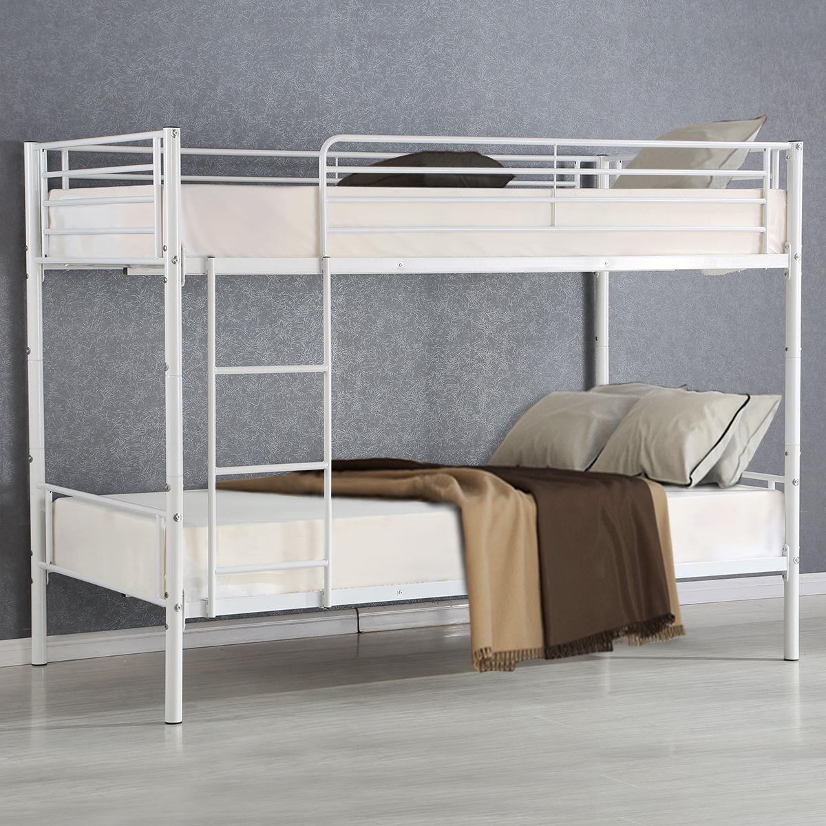 Giantex Metal Twin Over Twin Bunk Bed Modern Metal Steel