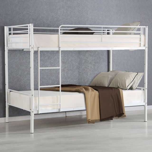 Giantex Metal Twin Over Twin Bunk Bed Modern Metal Steel Beds Frame With  Ladder Adult Children