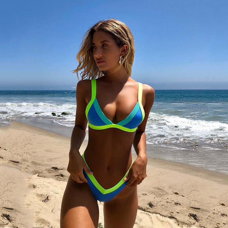 VIEUNSTA 2019 neon green patchwork <font><b>bikini</b></font> swimwear <font><b>sexy</b></font> push up swimsuit bathing suit brazilian women <font><b>triangle</b></font> <font><b>bikini</b></font> set badpak image