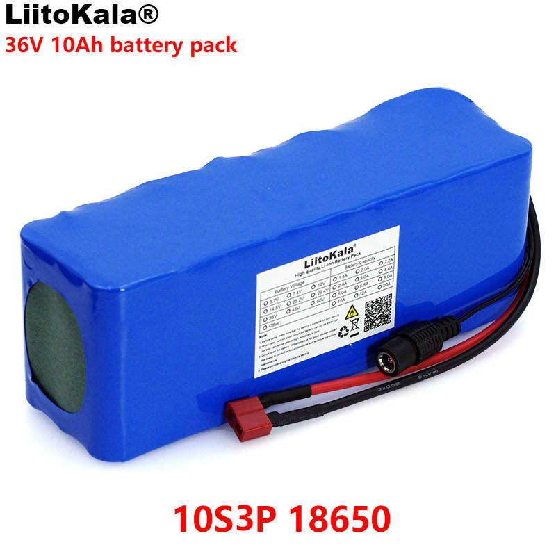 LiitoKala 36V 10000mAh 500W High Power 42V 18650 Lithium Battery Motorcycle Electric Car Bicycle Scooter with BMS