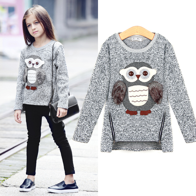 5~13Y Autumn European Style Teenage Girls Sweaters Kids Knitted Sweater Cute  Owl Emboidery Casual