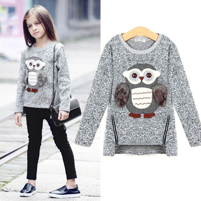 07db41af7 Online Shop 5~13Y Autumn European Style Teenage Girls Sweaters Kids Knitted  Sweater Cute Owl Emboidery Casual Zipper Girl Pull Fille Sueter |  Aliexpress ...