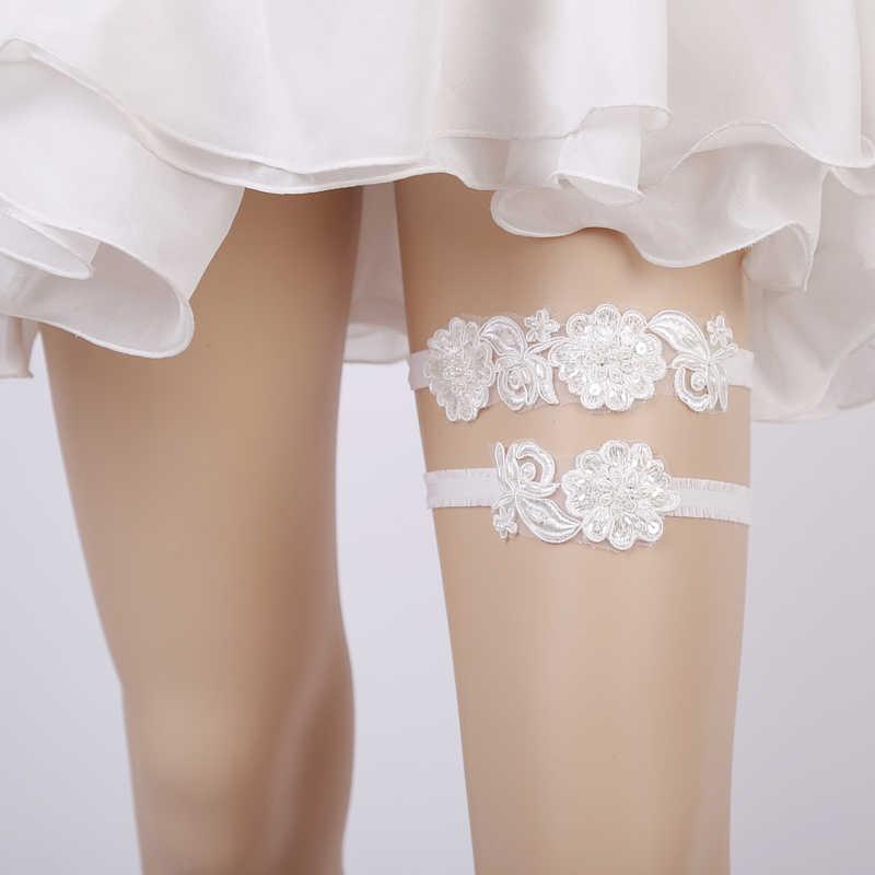 NEW Wedding Garter Sequins Lace Flower White Pearls Sexy Garter 2pcs set for Women/Female/Bride Thigh Ring Bridal Leg Garter