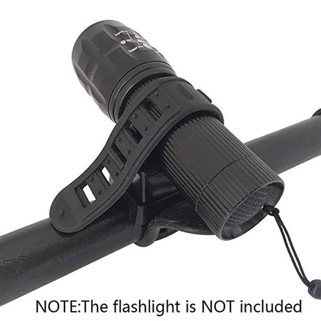 Ciclismo bicicleta luz da lâmpada faixa cinta suporte titular 360 rotação aperto led lanterna tocha braçadeira clipe de montagem 5