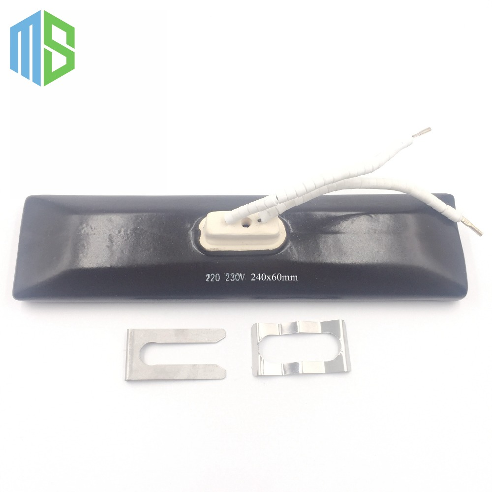 IR 240*60mm Flat/Curved Black/White Infrared Top Ceramic Heater Plate Air Heating Board For BGA Rework Station With Metal Clip