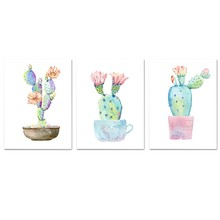 Potted Cactus Canvas Painting Wall Art Posters And Prints Nordic Poster Watercolor Wall Pictures For Living Room Decor(China)