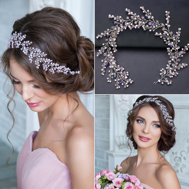 Luxury Silver Hair Jewelry For Women Pink Rhinestone Pearl