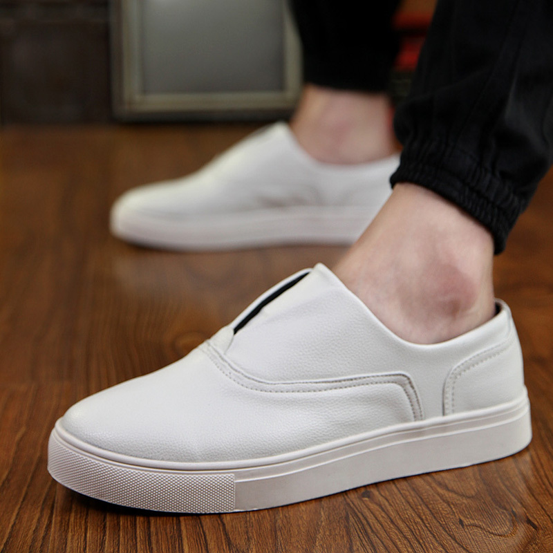 Men casual shoes Slip on 2016 Mens joggers PU leather Shoes trainers Black White Driving flats Zapatos hombre men shoes XX210 fashion nature leather men casual shoes light breathable flats shoes slip on walking driving loafers zapatos hombre