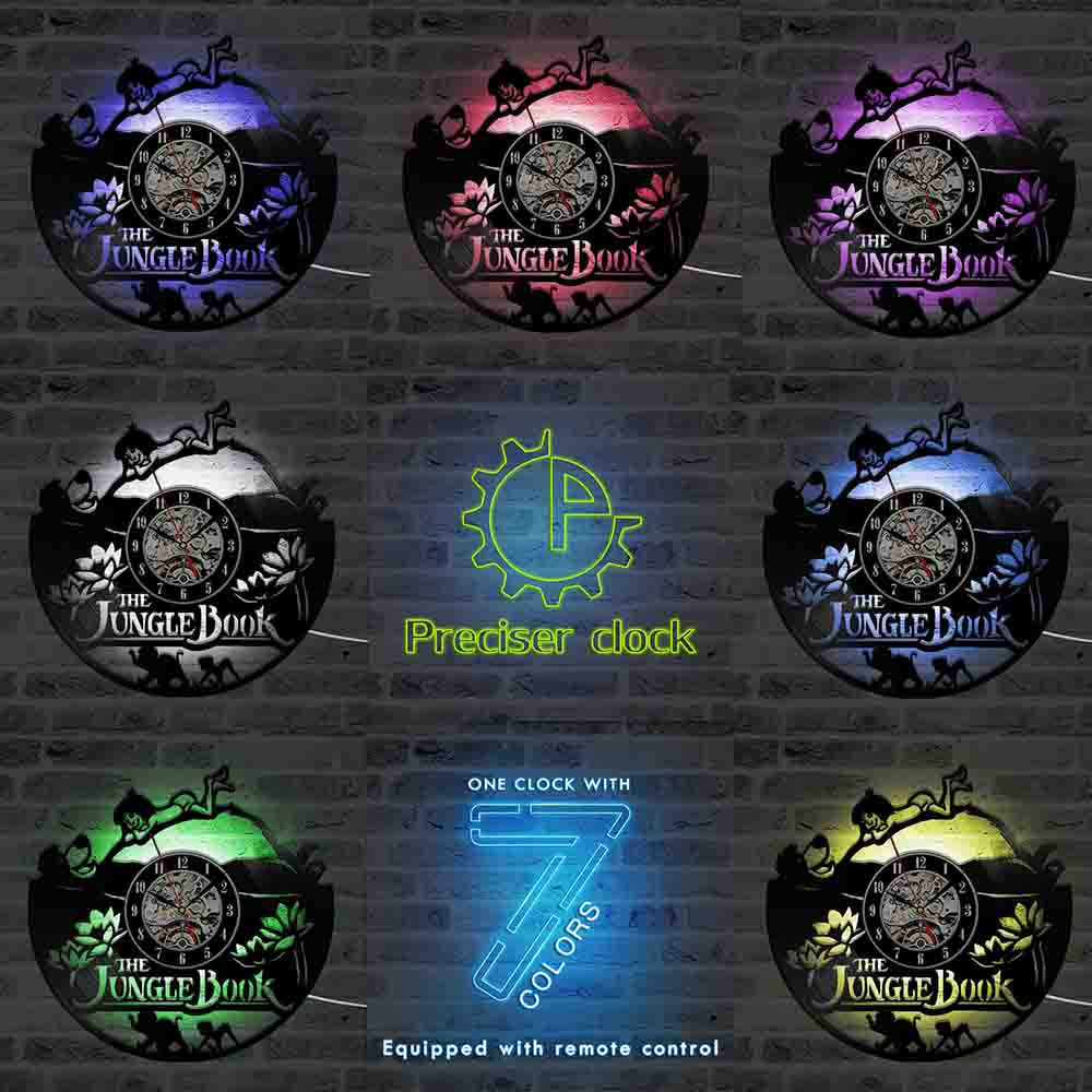 The Jungle Book Theme CD Record Clock Creative HollowVinyl LP Hanging LED Lighting Wall Clock Home Decor Antique Style Clock