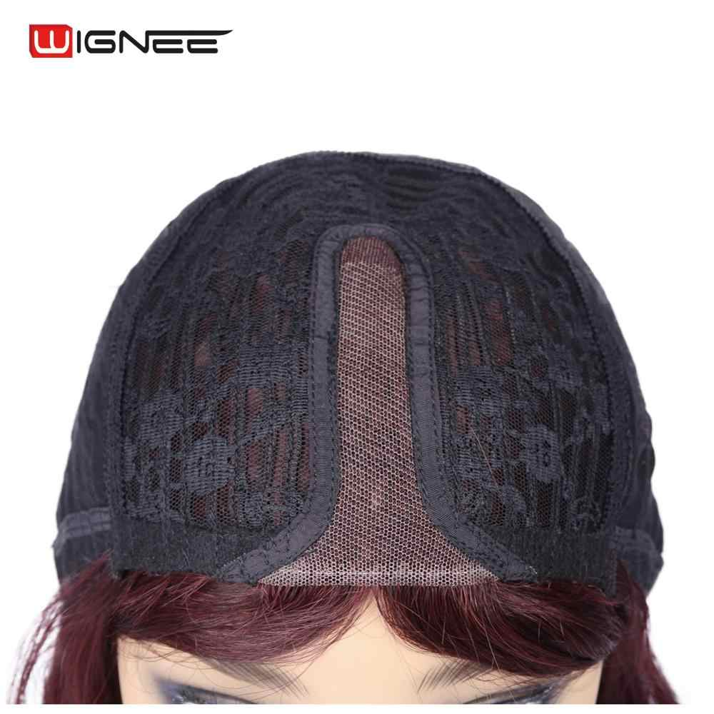 Wignee Malaysian Wig Curly Remy Human Hair Wig For Women Middle Part Natural Wave 150% High Density Short 99J Lace Part Hair Wig