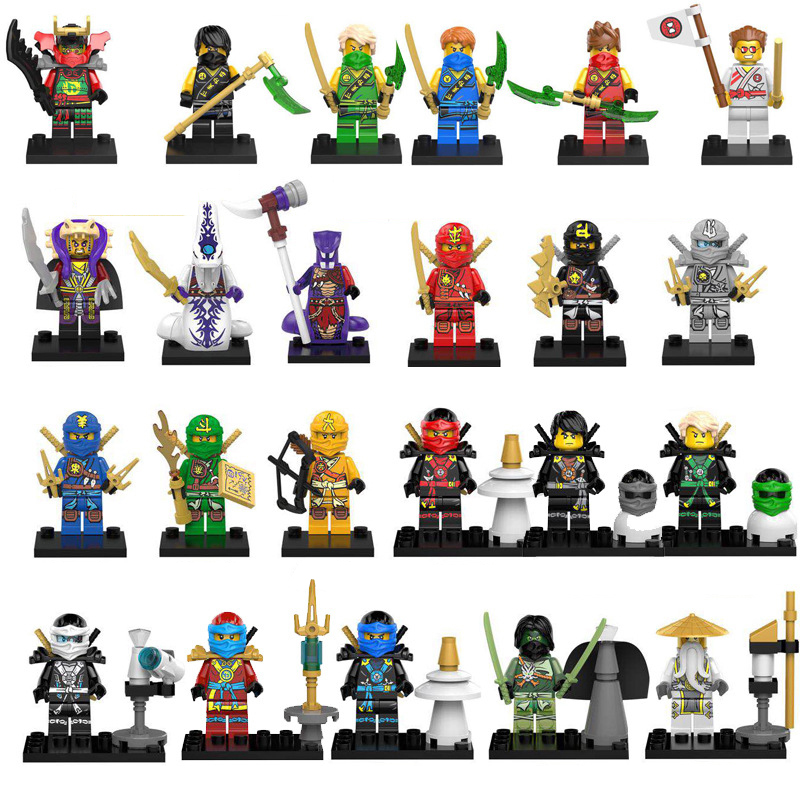 Action Figure Compatible LegoINGlys NinjagoINGlys Golden Ninja Heroes Minifigs With Motorcycle Skylor Lloyd ZX Buliding Blocks