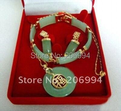 Bisutería de jade natural colgante collar pulsera conjunto 051(China (Mainland))