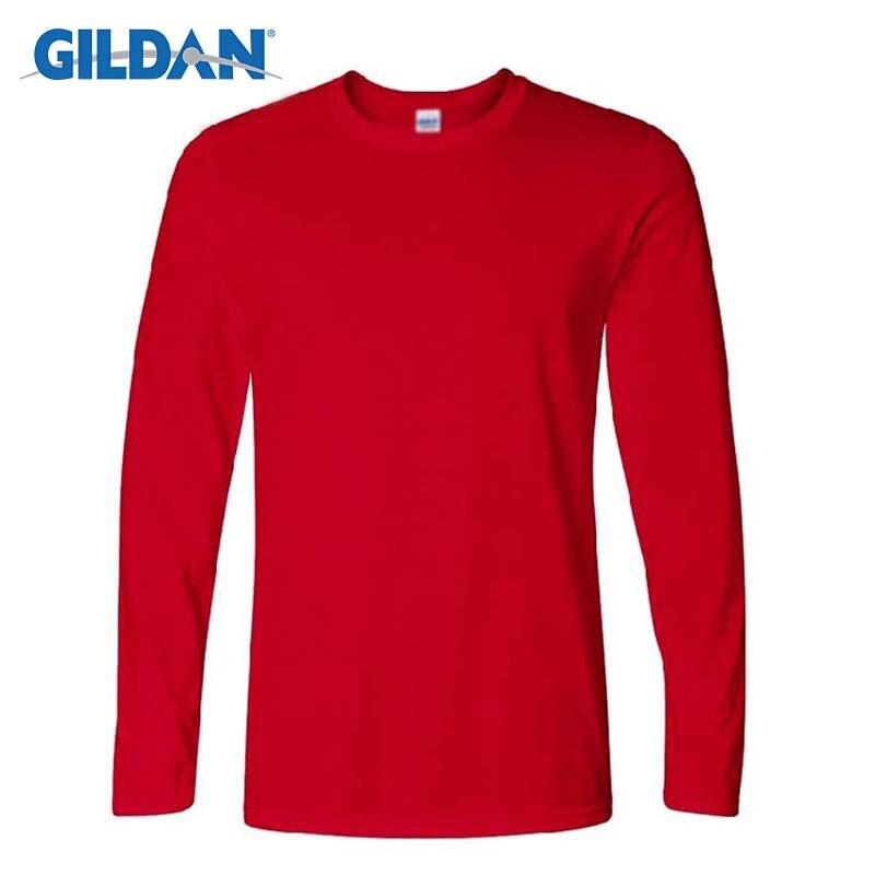 Gildan camisetas de manga longa dos homens primavera outono casual o pescoço t camisa 2017 nova moda aptidão topos & t homme camisetas