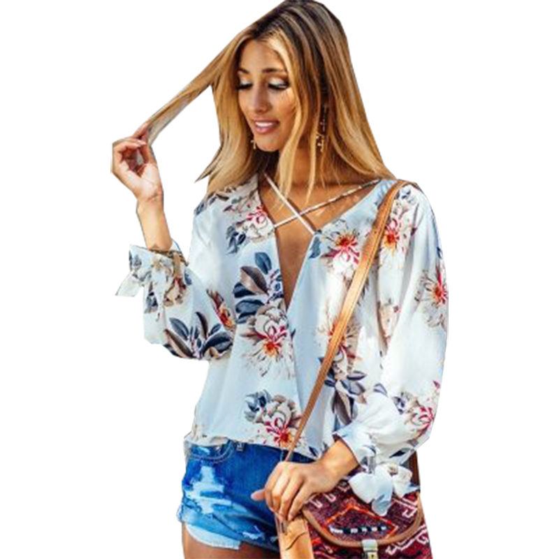 Pringing Blouse Women 2019 Hollow Out European Aliexpress Explosion Sexy Print V-neck Cross Chiffon Shirt Vestidos Blk503 Women's Clothing