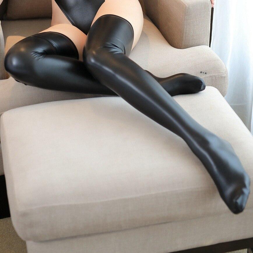 Сексуальная Женская искусственная кожа микро мини юбка бюстгальтер мокрого вида Клубная DS танцевальная одежда юбка фантазия эротическая одежда - Цвет: Long leg socks