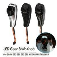 Carbon Fiber Car LED Automatic Gear Shift Knob For BMW E90 E91 E93 E81 E82 E84 E87 E89 LHD AT Gear Shift Knob Stick Shift Lever