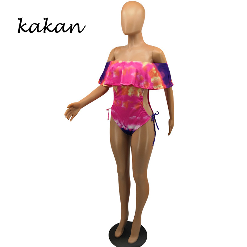 Kakan new ladies sexy one piece tights fashion sexy tie dyed suspender jumpsuit female high elastic gradient color jumpsuit in Bodysuits from Women 39 s Clothing