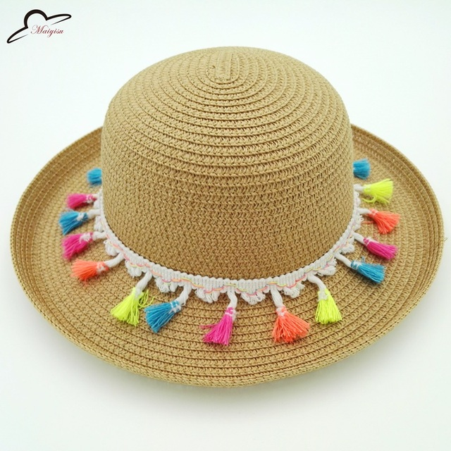 Mão-tecido Boêmio franjas borlas cor chapéu de palha Chapéu Panamá Chapeu  Feminino Pala de 162a93419f6