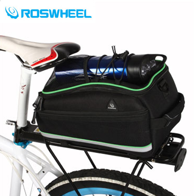 ROSWHEEL Bicycle Bag Multifunction Bike Tail Rear Seat Bag Cycling Scalable Bicycle Basket Rack Trunk Bag Shoulder Handbag roswheel mtb bike bag 10l full waterproof bicycle saddle bag mountain bike rear seat bag cycling tail bag bicycle accessories