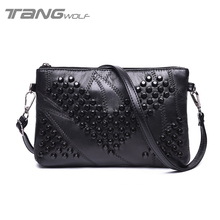 2016 Fashion Genuine Leather Women Bag Messenger Bags Rivet Shoulder Bag Clutch High Quality Crossbody Crown Bags Females Purse