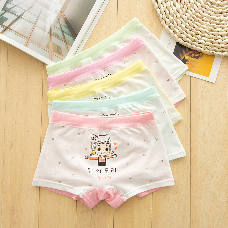 New arrived 2018 Girls Underwear Free Shipping Fashion Kids 100%cotton character children panties short boxer 5pcs/lot 1-8year