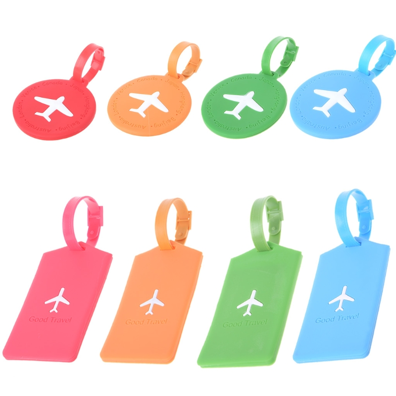 Travel Luggage Tag Square Round Address ID Name Card Suitcase Baggage Label Tags ...