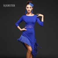 DJGRSTER Latin Dance Dress Performance Wear Adult Tassel Lace Clothing Customize Women Ballroom Dance Dress For