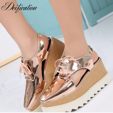 Deification High Platform Ladies Flats Shoes Chic Design Cut Out Casual Shoes Loafer Classic Cross-Tied Wedges Shoes For Women chic cut out fish noctilucent necklace for women
