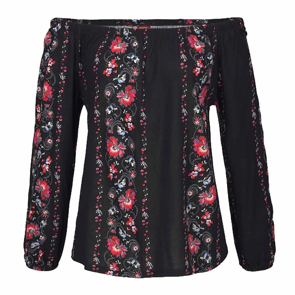 2 צבעים סלאש צוואר נשים חולצה נשים ארוך שרוול פרחוני הדפסת כבוי כתף חולצות חולצה חולצה Blusa Feminina