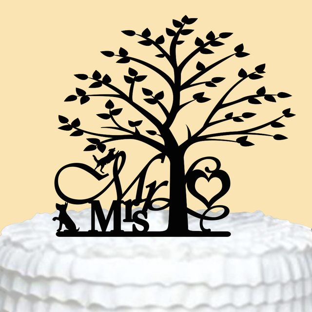 Cake Topper for Wedding Mr &Mrs Cake Toppers with Love Tree Wedding ...