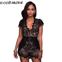 Summer Women Rompers Sexy Lace Hollow Out Black Bodysuit Deep V Neck Short Sleeve Overalls Girls Nightclub Jumpsuits