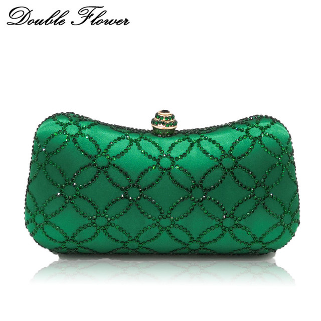 Double Flower Chinese Coins Numismatics Green Emerald Women Crystal Evening Clutch Handbag Purse Wedding Party Shoulder