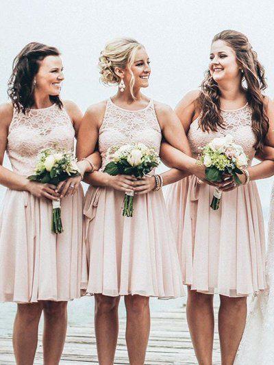 Dusty Pink   Bridesmaid     Dresses   Knee Length 2019 vestidos de fiesta de noche Chiffon Lace Wedding Guest   Dress   Party Gowns