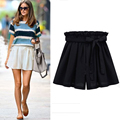 5XLWomen Skirt Shorts Summer 2016 Pantalones Cortos Mujer High Waist Shorts Women Wide Leg Plus Size Shorts HotPants Black/White