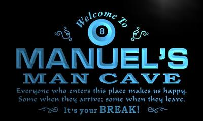x0110-tm Manuels Man Cave Billiard Parlor Custom Personalized Name Neon Sign Wholesale Dropshipping On/Off Switch 7 Colors DHL