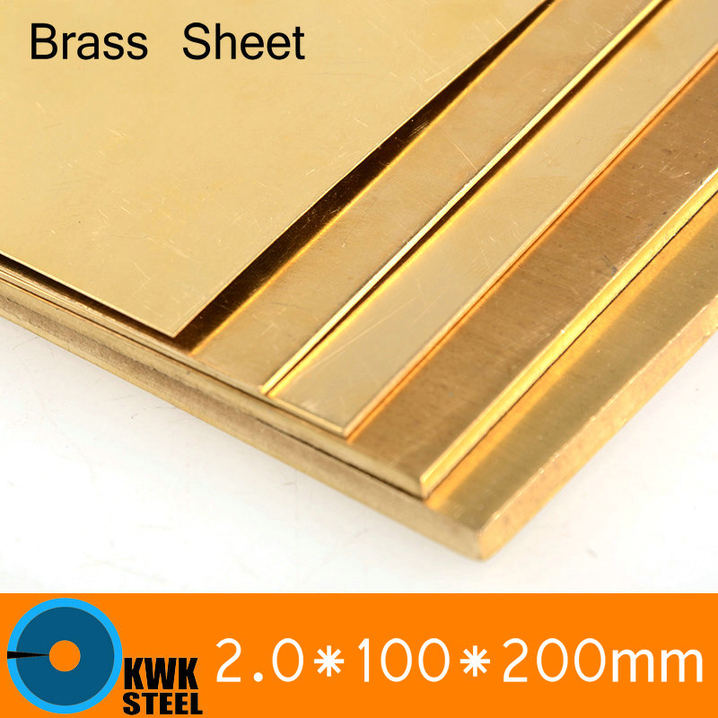 2 * 100 * 200mm Brass Sheet Plate of CuZn40 2.036 CW509N C28000 C3712 H62 Customized Size Laser Cutting NC Free Shipping 24 12 200mm od id length brass seamless pipe tube of astm c28000 cuzn40 cz109 c2800 h59 hollow bar iso certified free shipping