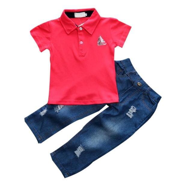 2227c2089414 New 2 PCS Set Baby Boy Clothes Sets Toddler Boys Handsome T shirt+ ...