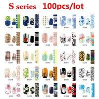 100 pcs Prego Suave Beauty Art Patch Adesivo Folhas Polonês Wraps Decalques Decoração DIY Prego Styling Tools Atacado