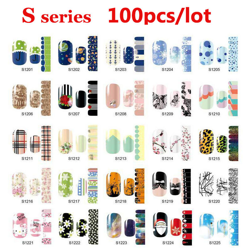 100pcs Smooth Nail Art Beauty Sticker Patch Polish Foils Wraps Decals Decoration DIY Nail Styling Tools Wholesale rocooart k2 water transfer nail art sticker chinese ink rose flowers christmas nail wraps sticker manicure decor decals foils