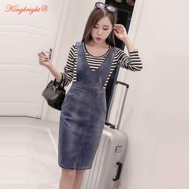 61f21e58a8fd9 US $19.27 21% OFF|2018 Summer Style Loose Strap Jeans Dress Preppy Style  Suspender Denim Sundress Denim Overall Dress Plus Size S 5XL -in Dresses  from ...
