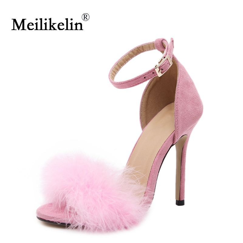 2019 women summer shoes fluffy peep toe stilettos high heels shoe woman fur feather lady wedding sandals pink nude large size 43