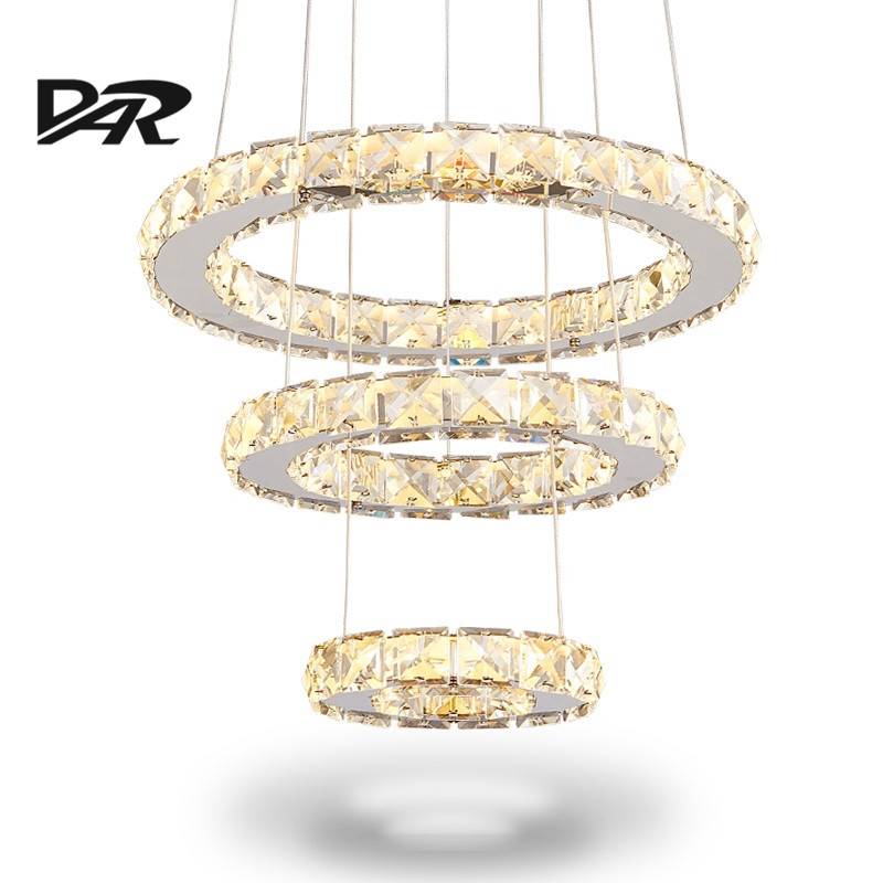 Modern Led Crystal Ring Chandelier Lighting Remote Control 2/3 Rings Crystal Light Fixture Circles Lamp lustre suspension haokhome 3d rustic wood grain vinyl self adhesive wallpaper rolls tan brown black living room study room wall papers home decor