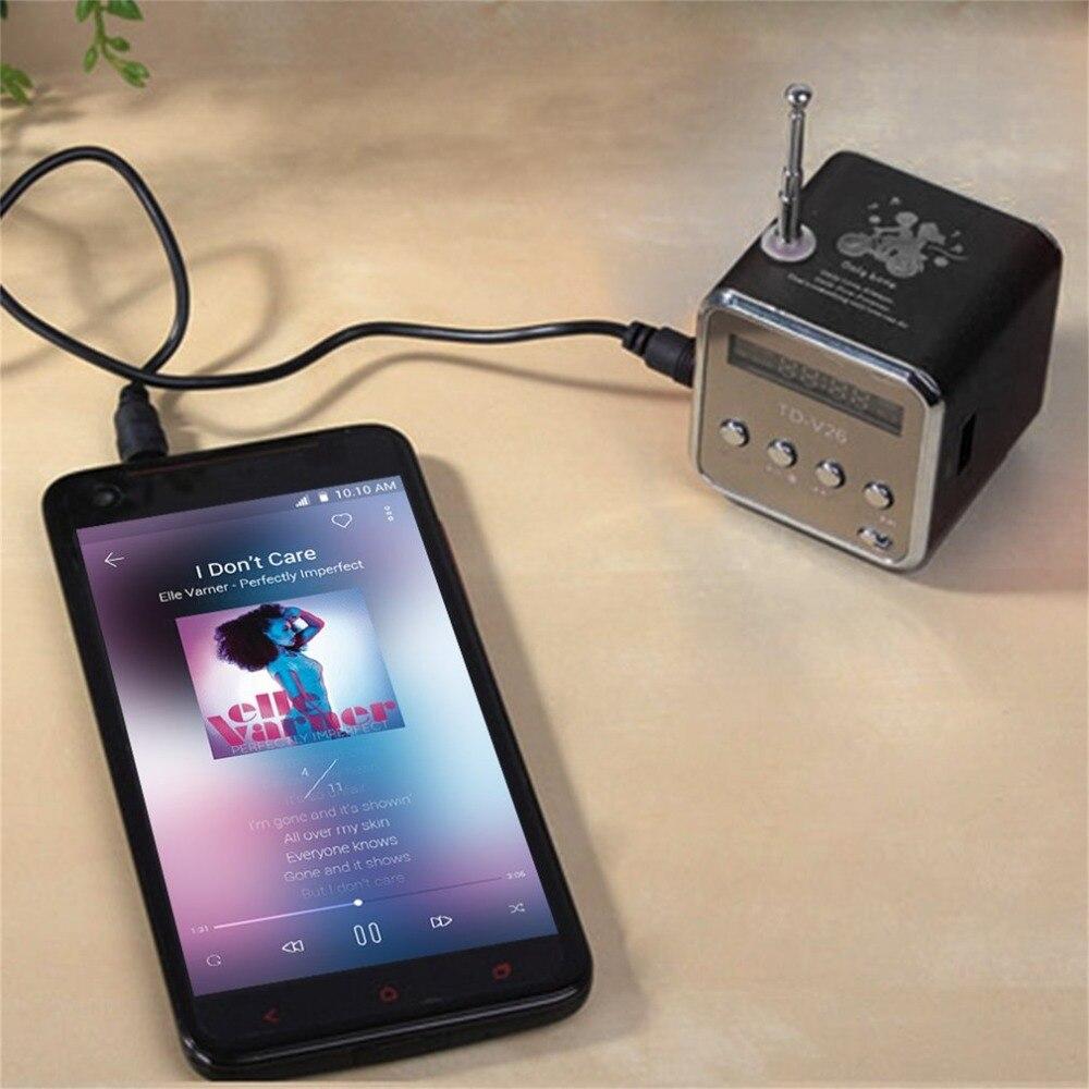 Mini altavoz portátil de aluminio aleación altavoz estéreo reproductor de música con Radio FM apoyo tarjeta SD/TF