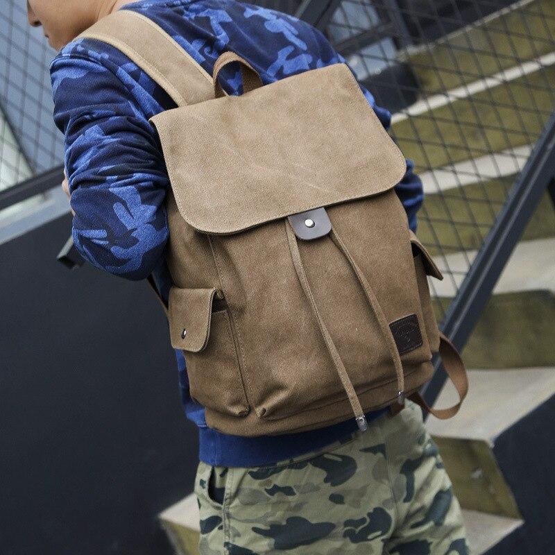Backpack Vintage Canvas Backpack School Bag Travel Bags Large Capacity Backpack Black, Coffee ,Khaki